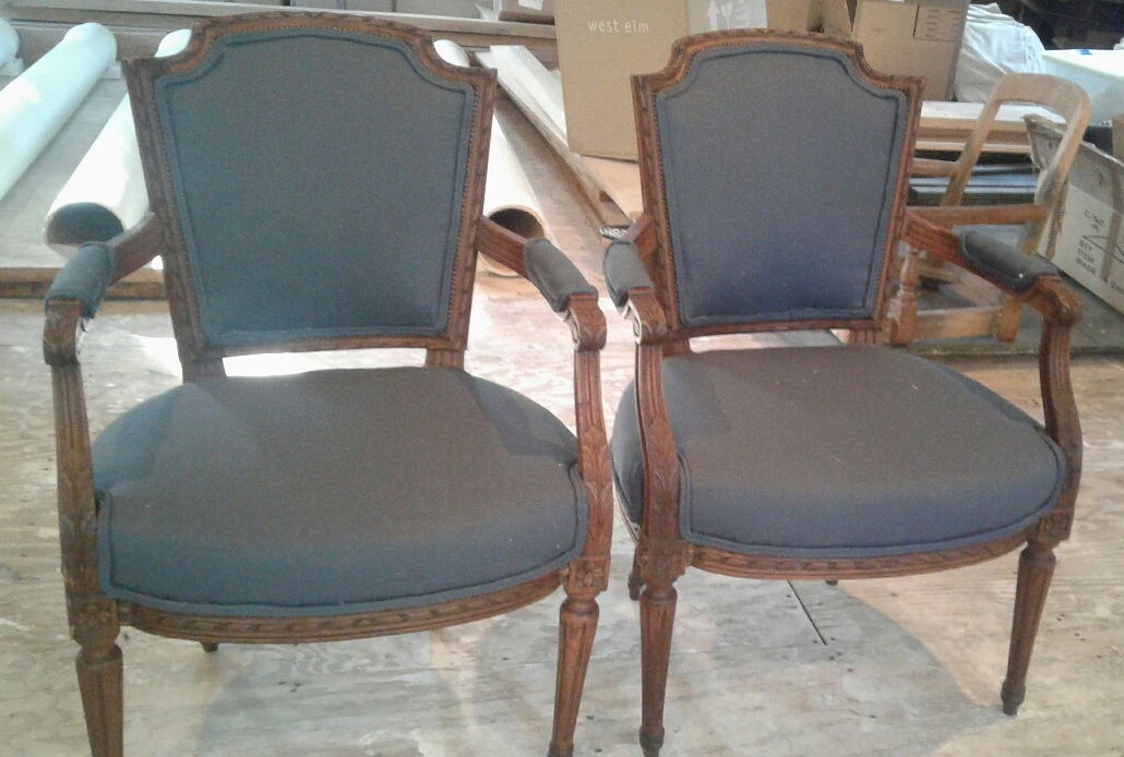 Reupholstered fauteuil chairs heirloomrestored.com