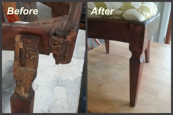 This pretty antique chair had a broken leg. We used wooden peg joints to  repair it (no screws because that would not be authentic) and now it is  ready for ... - Repairing Furniture & Antiques In New Orleans, Mandeville, Covington