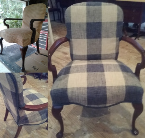 Reupholstered chair heirloomrestored.com
