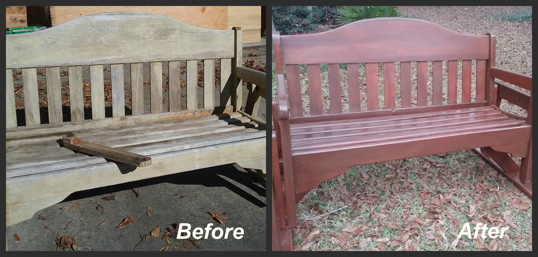 Refinished glider bench