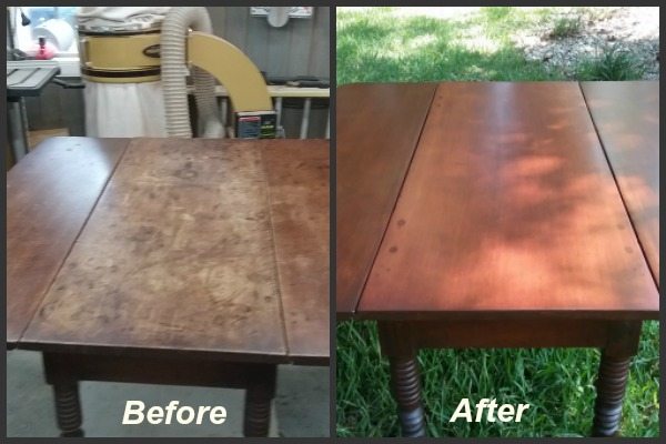 Refinished drop-leaf table