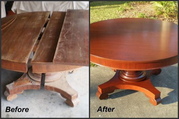 table with water damage
