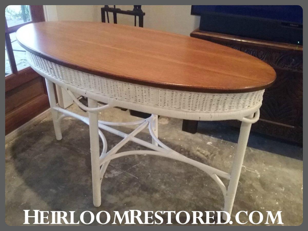 white wicker table | Heirloom Restored